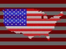 Mapa abstrato dos EUA dos hexágonos Fotografia de Stock Royalty Free