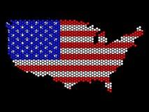 Mapa abstrato dos EUA dos hexágonos Imagens de Stock Royalty Free