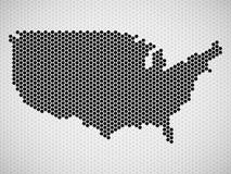 Mapa abstrato dos EUA dos hexágonos Foto de Stock