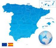 Mapa administrativo azul del vector de España libre illustration