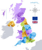 Mapa administrativo BRITÂNICO do vetor Imagens de Stock Royalty Free