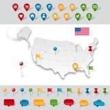 Mapa administrativo cinzento dos EUA Fotos de Stock Royalty Free