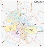 Mapa administrativo da estrada da capital romena Bucareste ilustração stock
