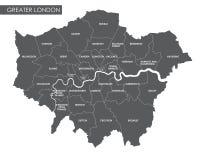 Mapa administrativo da Londres do vetor mais grande ilustração royalty free