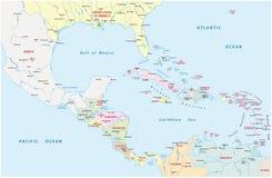 Mapa administrativo de América Central e dos países caribenhos ilustração stock