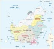 Mapa administrativo de Bornéu/Kalimantan ilustração royalty free