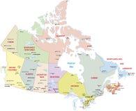 Mapa administrativo de Canadá Imágenes de archivo libres de regalías