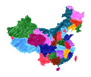 Mapa administrativo de China Fotos de archivo