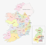 Mapa administrativo de Irlanda Fotografía de archivo libre de regalías