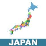 Mapa administrativo de Japón Imagen de archivo libre de regalías