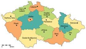 Mapa administrativo de la República Checa Foto de archivo libre de regalías