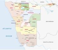 Mapa administrativo de Namíbia ilustração royalty free