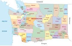 Mapa administrativo de Washington ilustração do vetor