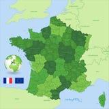 Mapa administrativo do verde do vetor de França Imagens de Stock Royalty Free