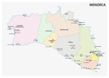 Mapa administrativo e político da Islândia baleárica espanhola de Menorca ilustração stock