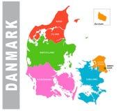 Mapa administrativo e político de Danmark colorido ilustração royalty free