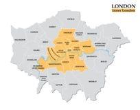 Mapa administrativo e político de Londres interna, definição estatística ilustração stock