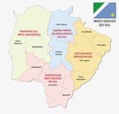 Mapa administrativo e político de Mato Grosso do Sul com bandeira ilustração royalty free