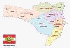 Mapa administrativo e político de Santa Catarina com bandeira ilustração stock
