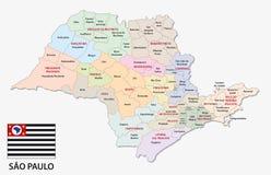 Mapa administrativo e político de Sao Paulo com bandeira ilustração royalty free