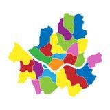 Mapa administrativo e político de Seoul colorido do vetor Ilustração do vetor ilustração stock