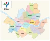 Mapa administrativo e político de Seoul do vetor com bandeira ilustração do vetor
