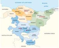 Mapa administrativo e político do país Basque do vetor na língua basque ilustração do vetor