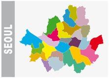Mapa administrativo e político de Seoul colorido Fotografia de Stock Royalty Free