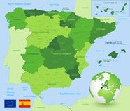 Mapa administrativo verde del vector de España libre illustration