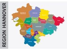Mapa administrativo y político de la región Hannover en lengua alemana Imagen de archivo libre de regalías