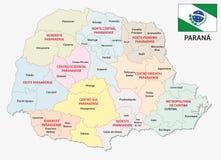 Mapa administrativo y político de Paraná con la bandera stock de ilustración