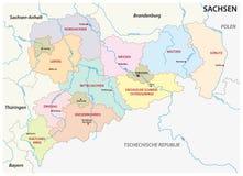 Mapa administrativo y político de Sajonia en lengua alemana Foto de archivo