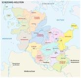 Mapa administrativo y político de Schleswig-Holstein en lengua alemana Imagen de archivo libre de regalías