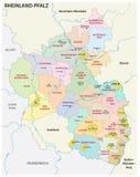Mapa administrativo y político del estado de Renania-Palatinado en lengua alemana Fotos de archivo libres de regalías