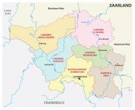 Mapa administrativo y político del estado del Sarre en lengua alemana Fotografía de archivo
