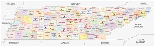 Mapa administrativo y político del Tennessee Foto de archivo libre de regalías