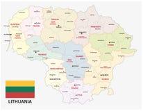 Mapa administrativo y político de la República Báltica de Lituania con la bandera Fotos de archivo libres de regalías