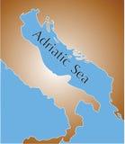 Mapa Adriatic morze Zdjęcia Royalty Free