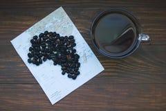 Mapa Afryka i czarna kawa Zdjęcie Stock