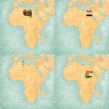 Mapa Afryka, Libia, Egipt, Tunezja i Sudan -, ilustracji