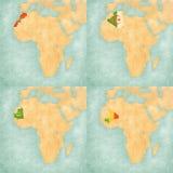 Mapa Afryka, Maroko, Algieria, Mauretania i Mali -, Obraz Stock