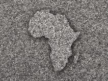 Mapa Afryka na makowych ziarnach Zdjęcia Royalty Free