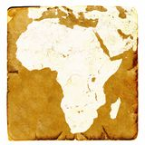 Mapa Afryka puste miejsce w starym stylu Brown grafika w retro trybie na antycznym i uszkadzającym papierze Podstawowy wizerunek  Zdjęcie Stock