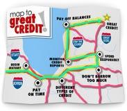 Mapa al gran préstamo lunes del préstamo de la historia de pago del grado de la cuenta de crédito Foto de archivo libre de regalías