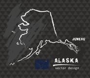 Mapa Alaska, Kredowa nakreślenie wektoru ilustracja Ilustracja Wektor