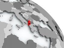 Mapa Albania z flaga na kuli ziemskiej Zdjęcie Royalty Free
