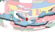 Mapa Albania z flaga na kuli ziemskiej Fotografia Royalty Free