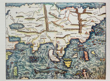 Mapa alemán antiguo de Asia Imagen de archivo libre de regalías
