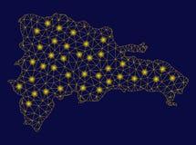 Mapa amarelo de Mesh Wire Frame Dominican Republic com pontos do alargamento ilustração stock