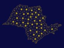 Mapa amarillo de Mesh Carcass Sao Paulo State con los puntos de la llamarada ilustración del vector